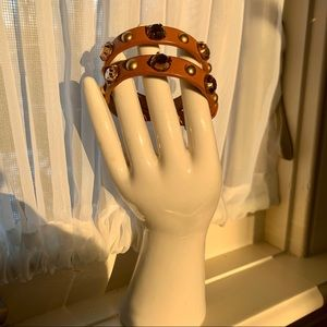 J. Crew Cognac Leather Studded Wrap Bracelet